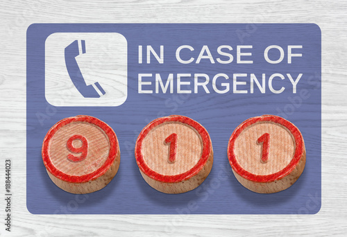 Poster Three Wooden Pieces Depicting 911 Emergency Number