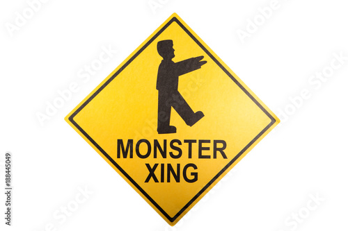 Foto Murales A monster crossing sign for Halloween
