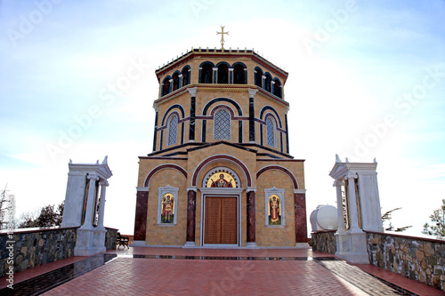 Papiers peints Chypre Orthodox church at hill Throni of Panayia over majestic Kykkos Monastery, Cyprus