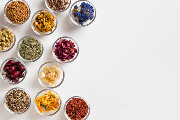 Selection of dried herbs on a white background with copy space, top view