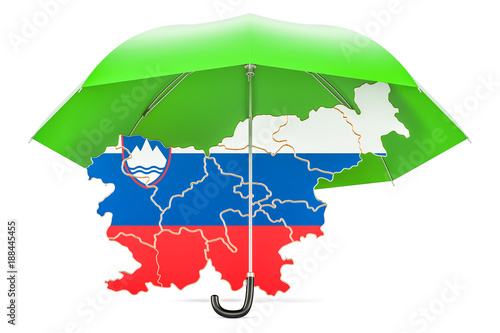 Slovenian map under umbrella. Security and protect or insurance concept, 3D rendering