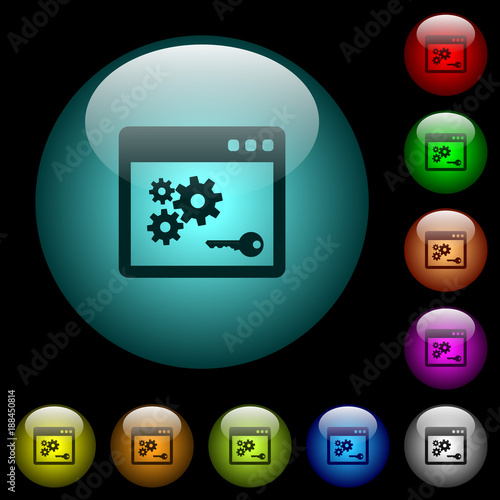 API key icons in color illuminated glass buttons