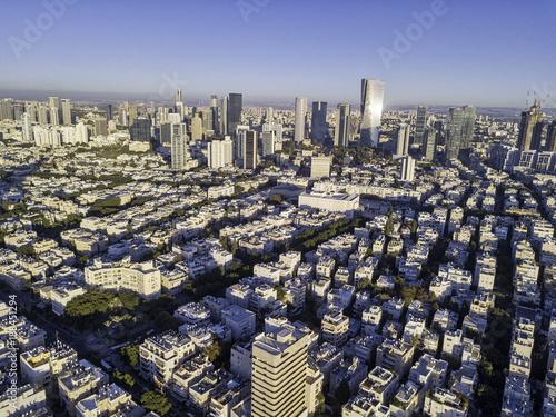 Fotobehang New York sky line of Tel Aviv towers and aerial Azrieli, sarona, israel