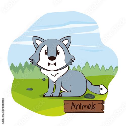 Fotobehang Wit Cute worlf cartoon icon vector illustration graphic design