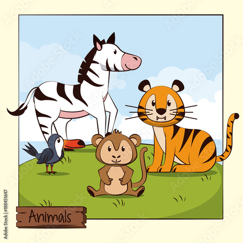 Fototapeta Cute animals cartoon icon vector illustration graphic design
