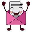 kawaii email envelope letter message cartoon vector illustration