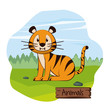 Cute tiger in forest cartoon icon vector illustration graphic design