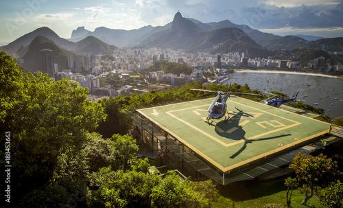 Deurstickers Rio de Janeiro Helipad with helicopter in Rio de Janeiro, Brazil