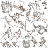 Winter Sport. An hand drawn full sized pack. Hand drawing on white. Line Art - 188454813