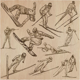 Winter Sport. Skiing and snowboarding. An hand drawn pack. - 188455012