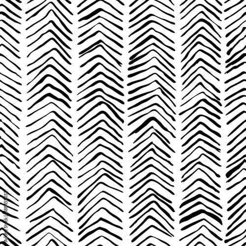 Vector black white hand drawn herringbone seamless pattern. Abstract strokes texture background, watercolor, ink and marker hatches. Trendy scandinavian design concept for fashion textile print. - 188459032