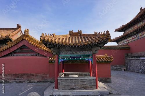 Fotobehang Peking Little temple with yellow roof in Beijing China