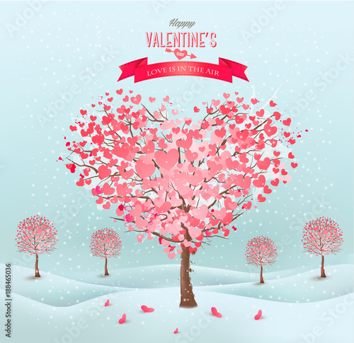 Sticker Pink heart-shaped trees. Valentine's day. Vector.