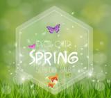 Spring Sale Banner. Sale background. Big sale. Floral Sale Tag