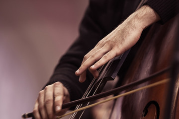 Hands of a musician playing on a contrabass closeup