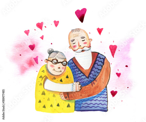 Hand drawn watercolor cartoon illustration for St Valentine's day with old couple and hearts - 188477485