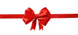 Red silk ribbon and a big bow - 188485632