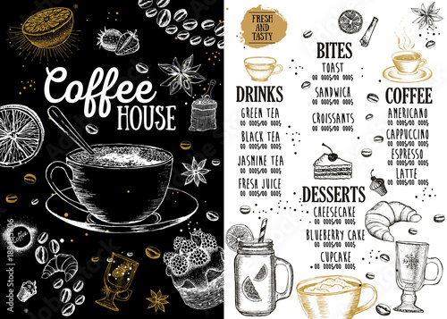 Coffee house menu. Restaurant cafe menu, template design. Food flyer. - 188485806
