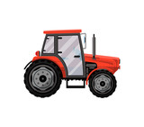 Red wheeled tractor isolated icon. Agricultural machinery for field work vector illustration. Rural industrial farm technics, comercial transport. - 188486696