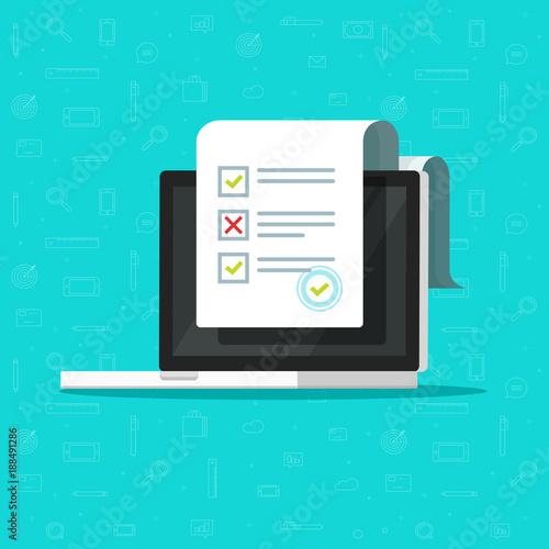 online form survey on laptop vector illustration flat cartoon