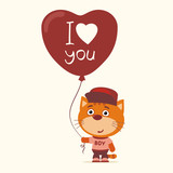 I love you! Funny kitten with balloon heart for Valentine's Day. Greeting card for Valentine's Day.