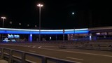 Glowing car bridge in Moscow at night. Beautiful views of capital of Russia. Bright colorful streets and roads of big city with light in big city. - 188495436