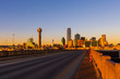 View of Dallas cityscape from the Houston St. Viaduct bridge during sunset