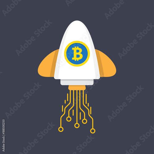 Fototapeta Bitcoin Rocket Ship Launching