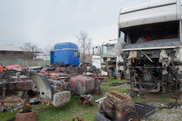 Old ruined, abandoned trucks. The old truck graveyard