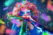 Leinwanddruck Bild - Frau in Karnevalstimmung