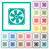 Computer fan flat color icons with quadrant frames - 188509425