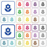 Flower outlined flat color icons
