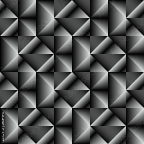Triangle pattern. Vector seamless geometric background. Black, white and gray colors