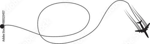 Vector illustration of track of plane on white background