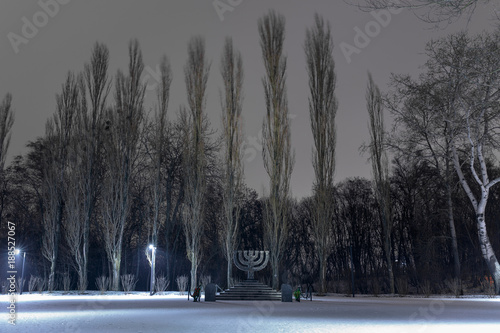 Fotobehang Kiev Memorial Menorah of Babi Yar is a ravine and a site of the largest shooting massacre during the Holocaust. out by Nazi during their campaign in World War II. Kyiv. Ukraine.