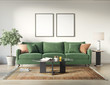 Classic elegant luxury white interior with a classic green sofa