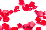 Valentines Day Made of Red rose petals Isolated on White Background. - 188534896