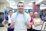 sporty people in gym - 188536485