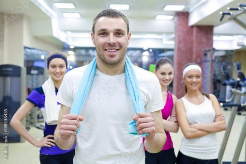 Fridge magnet sporty people in gym
