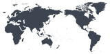 World Map Outline Contour Silhouette - Asia in Center - 188538845