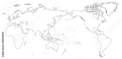 World map outline contour silhouette asia in center buy photos world map outline contour silhouette asia in center gumiabroncs Images