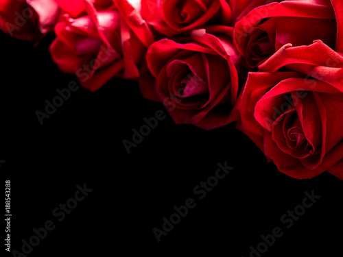 Close Up Image Of Beautiful Blooming Red Rose Flowers Bouquet On
