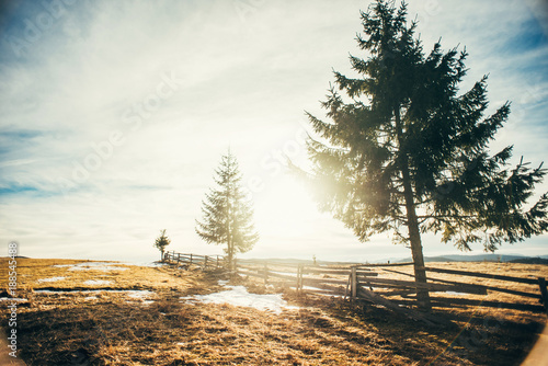 Foto Murales Beautiful mountain landscape with meadow and snow, against direct sunlight