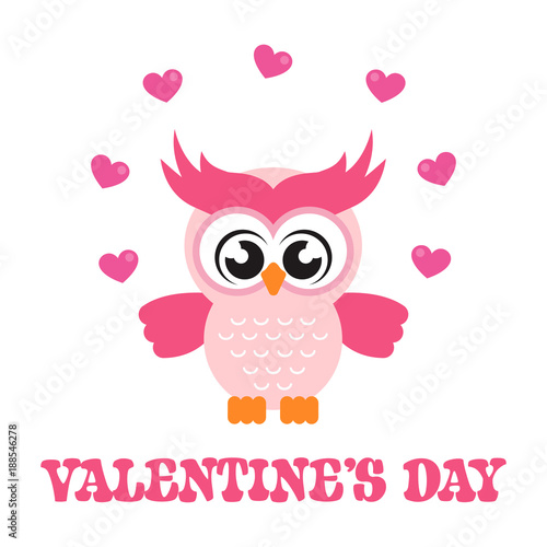 cartoon cute owl with lovely heart and text