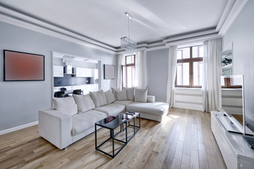 The interior of the spacious apartment in white tones.