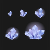 Vector set of glass crystals isolated on a transparent background. Crystals evolution from small to large - 188548677