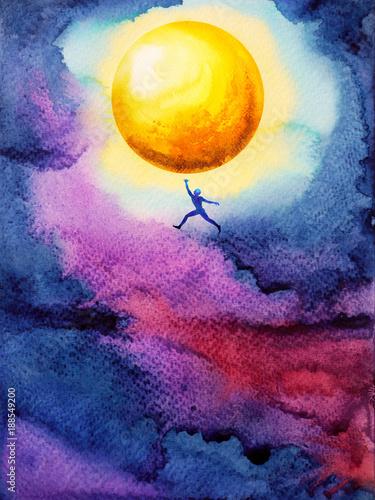ludzki-skok-wysoko-do-zlapac-jasnozolty-ful-ksiezyc-w-ciemne-niebo-nocy-sen-ilustracja-malarstwo-akwarela-projekt
