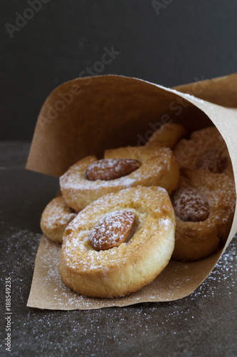 Cookies with nuts in a paper bag.