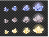 Vector set of glass crystals isolated on a transparent background. Crystals evolution from small to large - 188549855