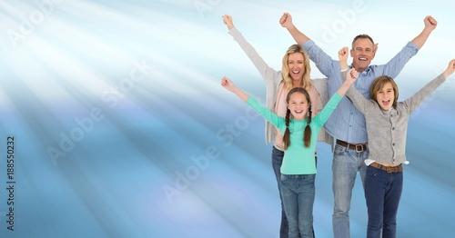 Foto Murales Family celebrating with joy with blue shining light streaks